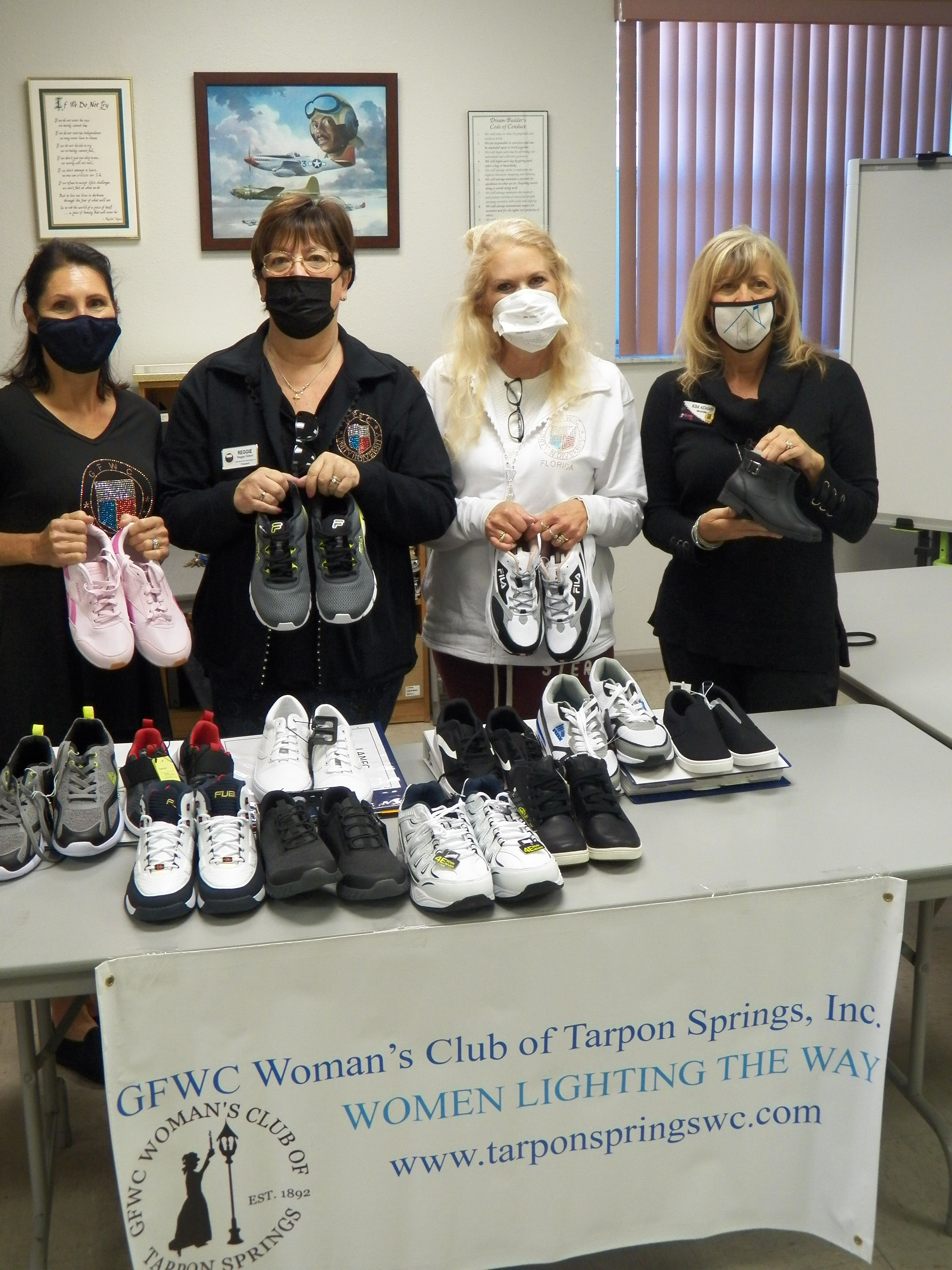Donating shoes to Citizens Alliance for Progress for the GFWC Juniorettes Kicks for Kids program.